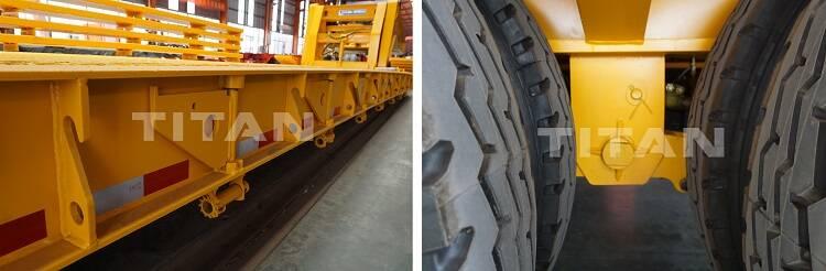 Los remolques hidráulicos RGN se utilizan ampliamente en la industria del transporte pesado y son el tipo más común de remolque de plataforma baja. El remolque de cuello de cisne utiliza cilindros hidráulicos para quitar el cuello de cisne.