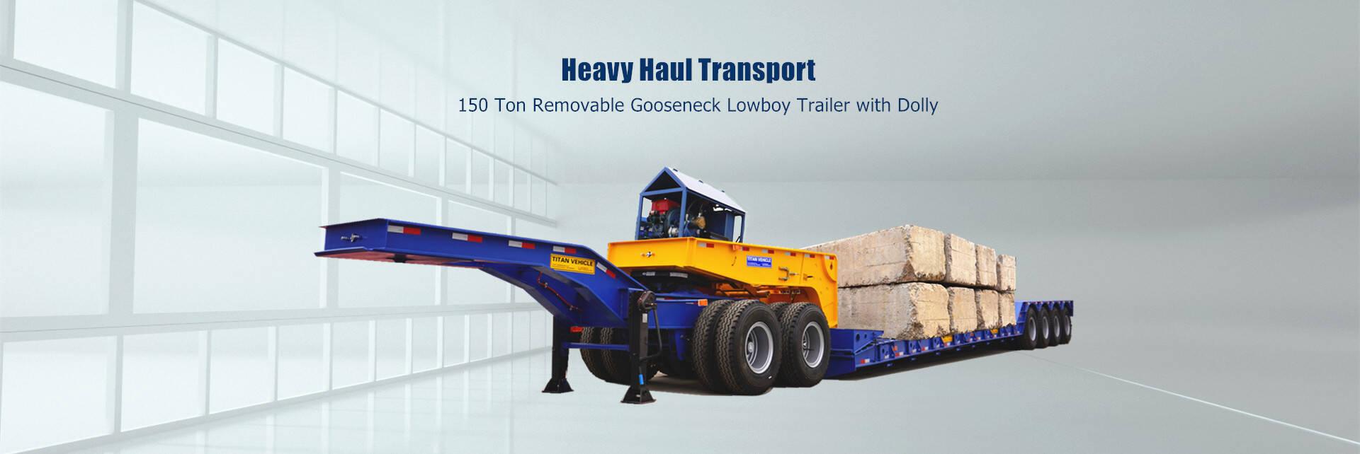 Remolque lowboy de cuello de cisne extraíble de 150 toneladas a la venta