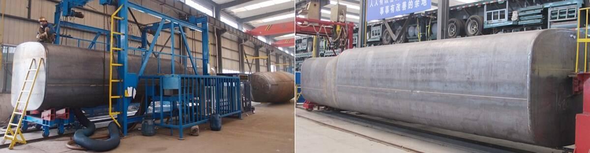 Proceso del producto del remolque de camión de aceite de 4 ejes