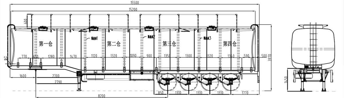 Dibujo de remolque cisterna de aceite 90000L