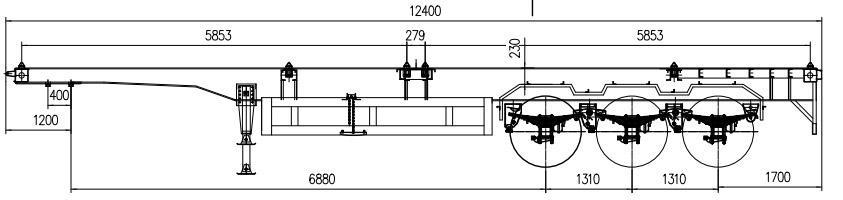 Dibujo de remolque de chasis de contenedor