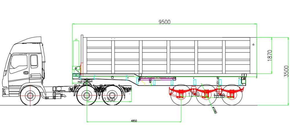 Dibujo de remolque volquete de 3 ejes 60T