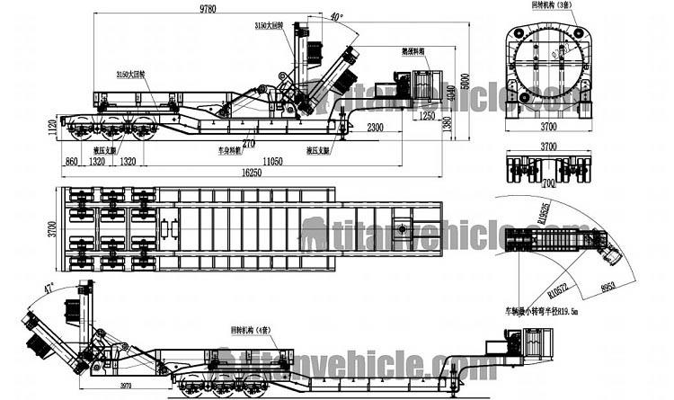 Adaptador de transporte de palas eólicas de 3 líneas y 6 ejes