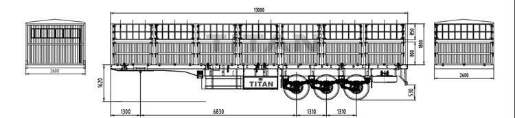 TITAN fence semi trailer specs, capacity, dimension and drawing