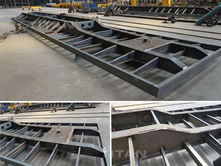 Semirremolque de superficie plana en la fábrica.