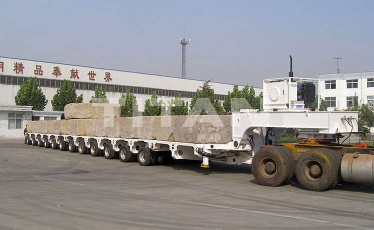 Hydraulic multi axle trailer consist of different modules with 12 axle lines. The full name of SPMT is self propelled modular transporter for sale.