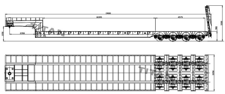 Menggambar dimensi trailer tempat tidur rendah