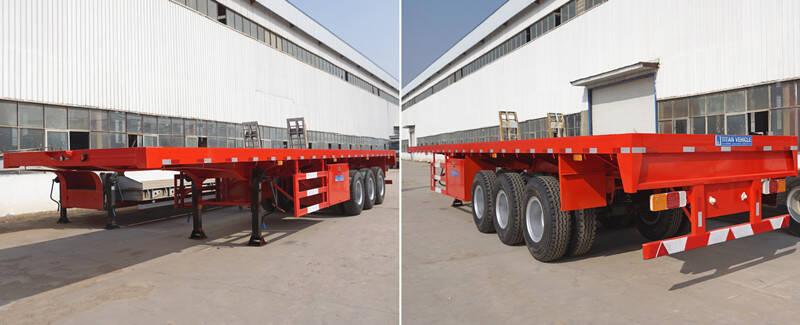 China Remolque de plataforma en venta - Remolque de tres ejes por vehículo TITAN